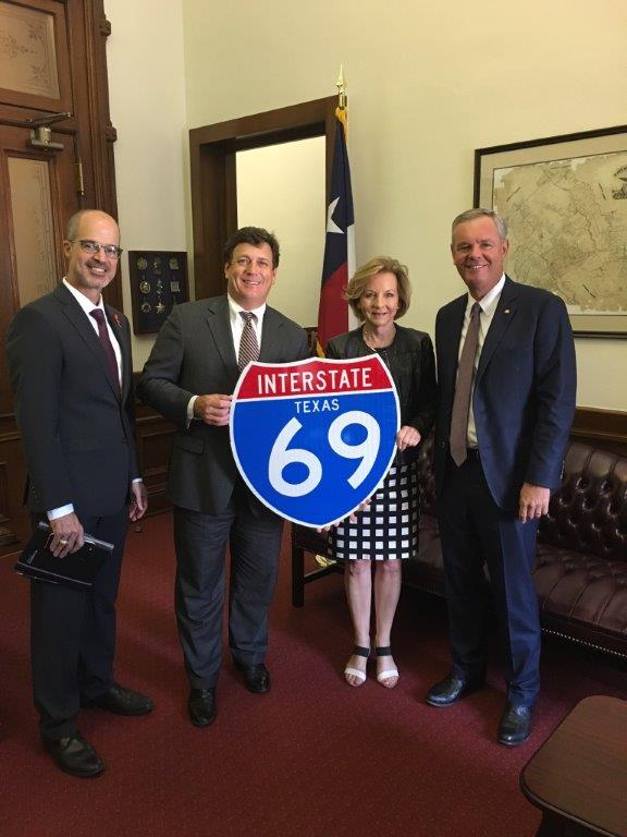 From L to R:  TxDot Deputy Executive Director Marc Williams, TxDot Commissioner Jeff Austin, House Transportation Chair Rep. Geanie Morrison, TxDot Advisory Committee Chair Judge Hugh Taylor